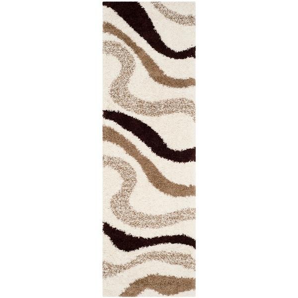 Safavieh Contemporary Shag Ivory/ Brown Runner (2'3 x 9') - 2'3 x 9' 16058484