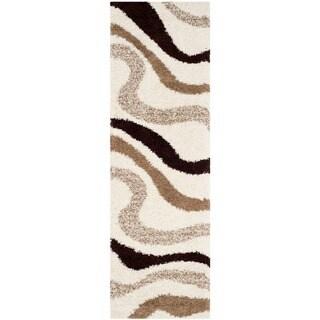 Safavieh Shag Ivory/ Brown Polyester Rug (2'3 x 7')
