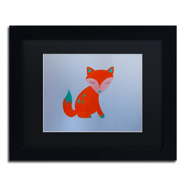 Nicole Dietz 'Orange Fox' Black Matte, Black Framed Wall Art