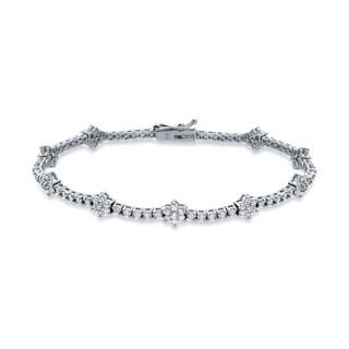 Auriya 14k White Gold 2 1/2ct TDW Round Cut Diamond Link Bracelet (H-I, I2-I3)
