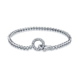 Auriya 14k White Gold 1 1/2ct TDW Round Cut Diamond Tennis Bracelet (H-I, I1-I2)