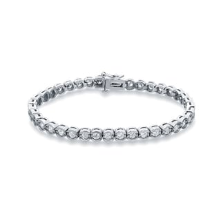 Auriya 14k White Gold 3 3/4ct TDW Round Cut Diamond Tennis Bracelet (H-I, SI2-SI3)