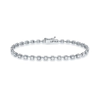 Auriya 18k White Gold 1 1/2ct TDW Round Cut Diamond Bracelet (G-H, SI1-SI2)