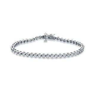 Auriya 14k White Gold 2ct TDW Round Diamond Tennis Link Bracelet (H-I, I2-I3)
