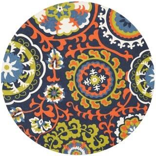 Safavieh Handmade Cedar Brook Light Blue/ Orange Cotton Rug (5' Round)