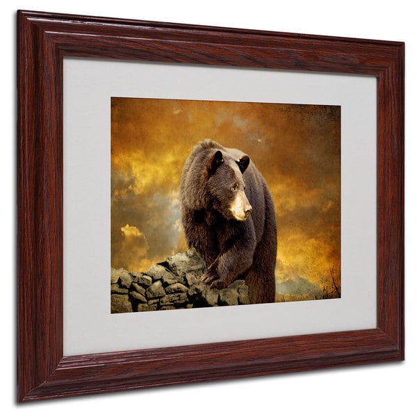 Lois Bryan 'Bear Went Over the Mountain' White Matte, Wood Framed Wall Art