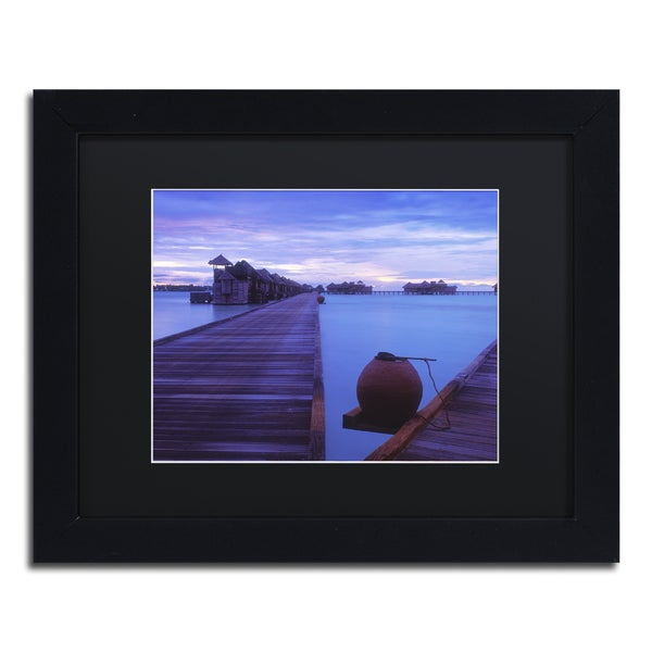 David Evans 'Dawn-Gili Lankanfushi' Black Matte, Black Framed Wall Art