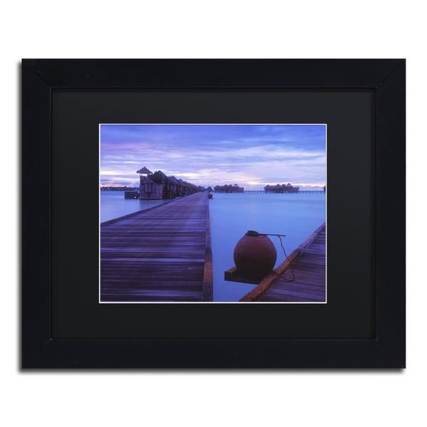 David Evans 'Dawn-Gili Lankanfushi' Black Matte, Black Framed Wall Art