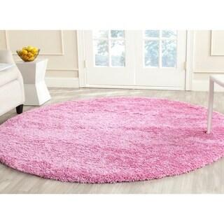 Safavieh California Cozy Solid Pink Shag Rug (4' x 4' Round)