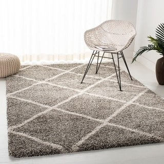 Safavieh Hudson Diamond Shag Grey Background and Ivory Rug (11' x 15')