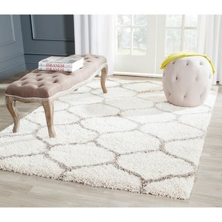 Safavieh Hudson Ogee Shag Ivory Background and Grey Rug (11' x 15')