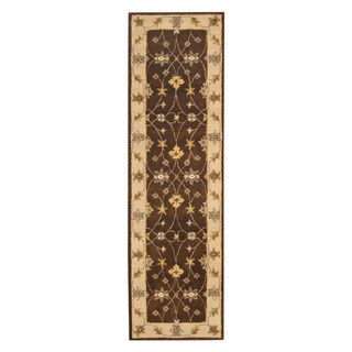 Herat Oriental Indo Hand-tufted Mahal Brown/ Ivory Wool Rug (2'4 x 8'2)