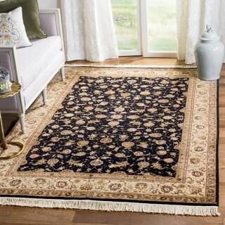 Safavieh Hand-knotted Tabriz Floral Navy/ Beige Wool/ Silk Rug (9' x 12')