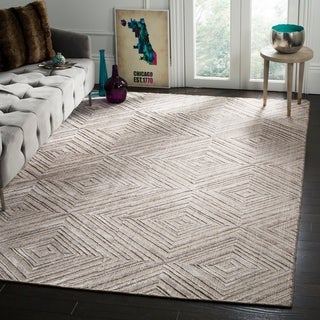 Safavieh Hand-knotted Mirage Grey Wool/ Viscose Rug (9' x 12')