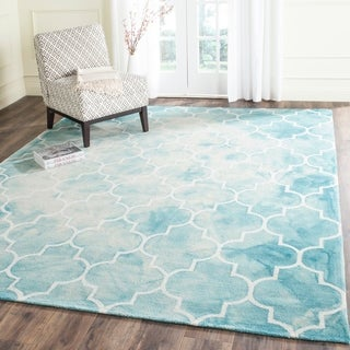 Safavieh Handmade Dip Dye Turquoise/ Ivory Wool Rug (9' x 12')