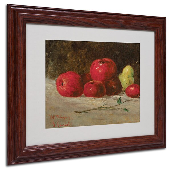 Gustave Courbet 'Apples and Pears' White Matte, Wood Framed Wall Art
