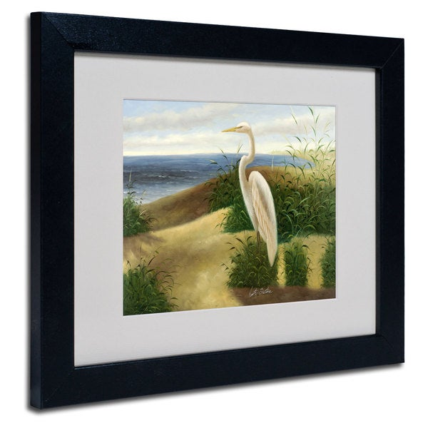 Victor Giton 'One Heron at the Beach' White Matte, Black Framed Wall Art