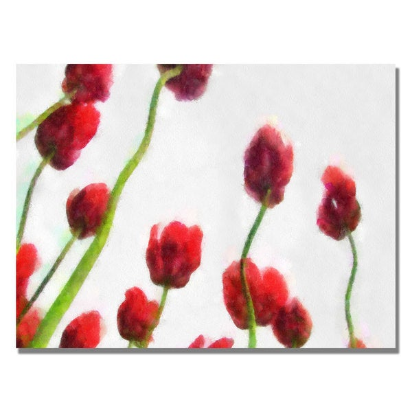 Michelle Calkins 'Red Tulips from Bottom Up IV' Canvas Art