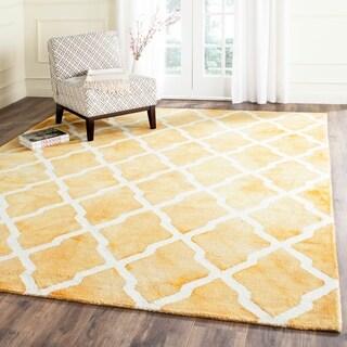 Safavieh Handmade Dip Dye Gold/ Ivory Wool Rug (9' x 12')