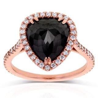 Annello 14k Rose Gold 3 3/8ct TDW Pear Shape Black and White Diamond Ring (G-H, I1-I2)