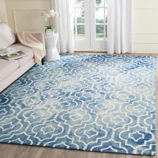 Safavieh Handmade Dip Dye Blue/ Ivory Wool Rug (9' x 12')
