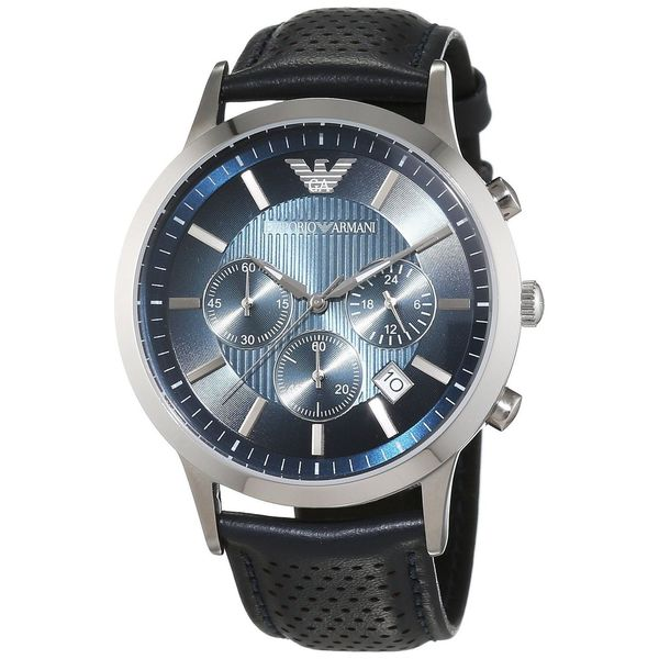 Armani Men's AR2473 Classic Round Navy Leather Strap Watch