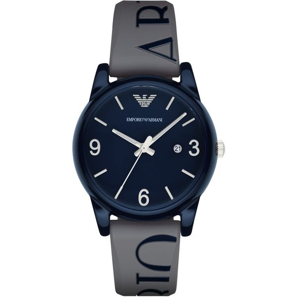 Armani Men's AR1065 Classic Round Grey Silicone Strap Watch