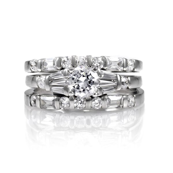 Sterling Silver Wedding Ring Trio Set