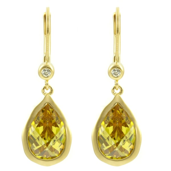 Pear Drop Yellow CZ Earring