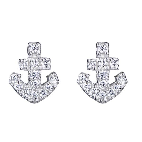 Anchor CZ Stud Earrings