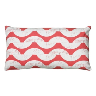 Rizzy Home White And Coral Rectangle Pillow Cover