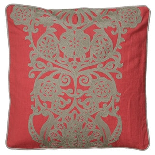 Rizzy Home Coral And Grey Square Pillow Cover
