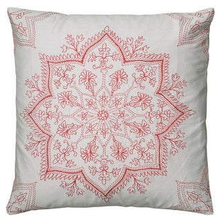 Rizzy Home Light Khaki And Coral Square Pillow Cover