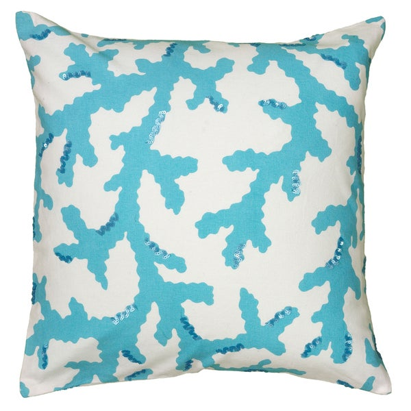 Rizzy Home Light Blue And White Square Pillow Cover