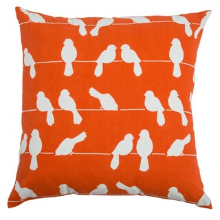 Rizzy Home Orange Perched Birds Square Pillow Cover
