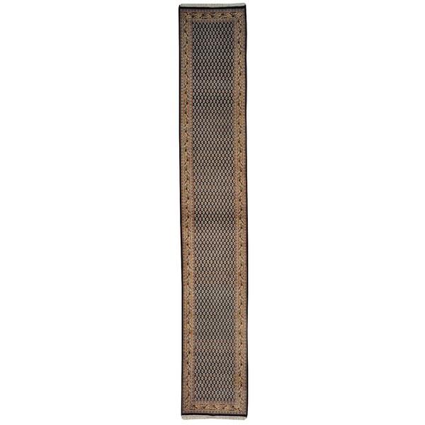 Navy Sarouk Mir Runner Hand Knotted Oriental Rug (2'7 x 15'7)