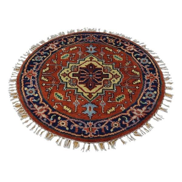 Round Rust Red Serapi Heriz Oriental Rug Hand Knotted (3' x 3') 16063314