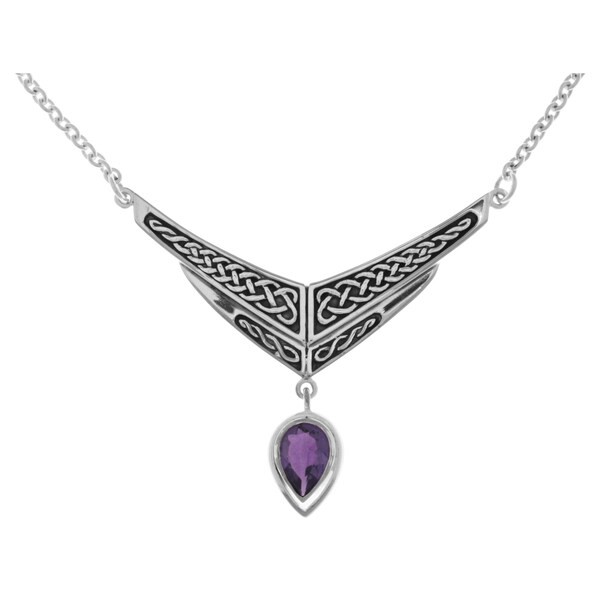 CGC Silverplated Celtic Knot Amethyst Purple Glass Chevron Drop Pendant Link Chain Necklace