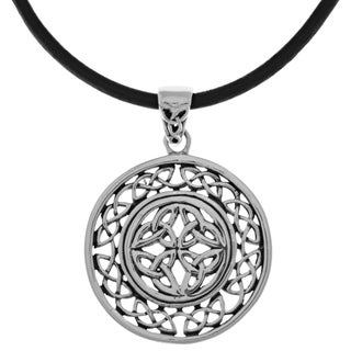 Carolina Glamour Collection Silverplated Celtic Trinity Knot Round Pendant Black Leather Necklace