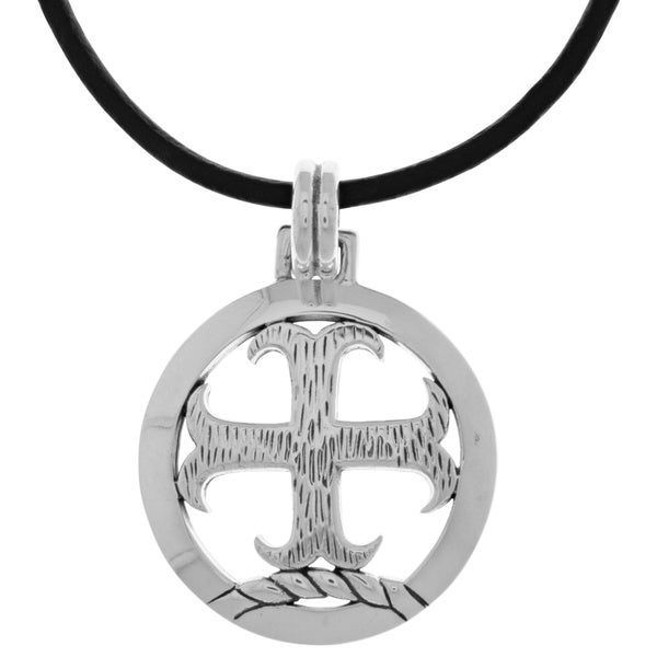 CGC Silverplated Knights Templar Cross Pendant Black Leather Necklace