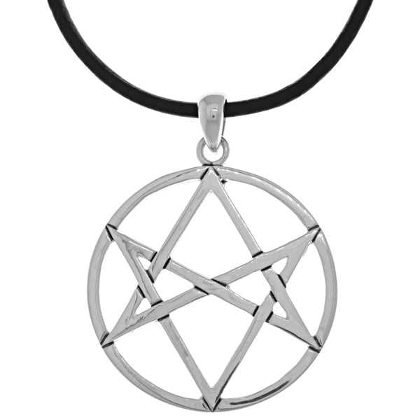 CGC Silverplated Magical Hexagram Star Pendant Black Leather Necklace