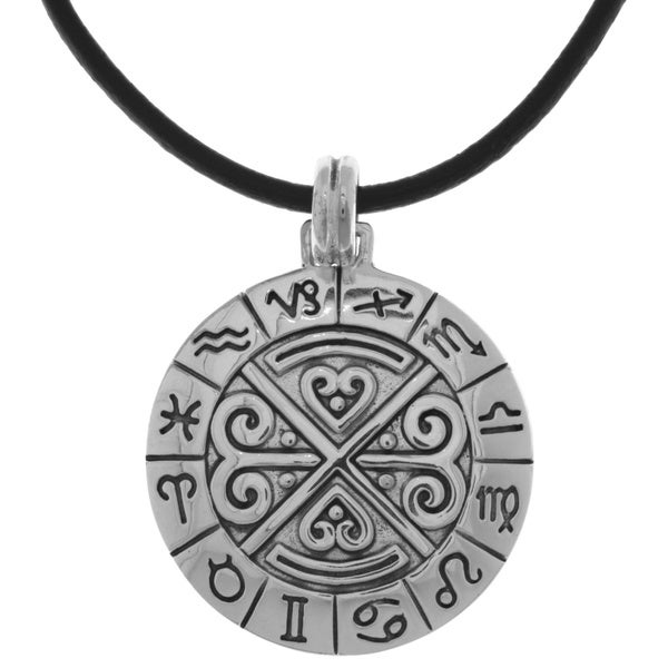 CGC Silverplated Zodiac Symbol Wheel Pendant Black Leather Necklace