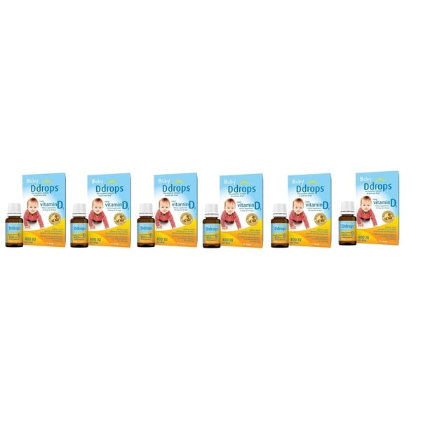 Baby D Drops Liquid VItamin D3 400 IU/Drop (Pack of 6)