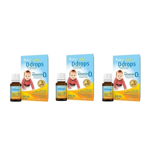 Baby D Drops Liquid VItamin D3 400 IU/Drop (Pack of 3)