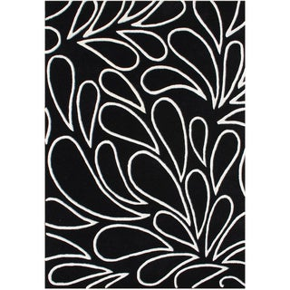 Alliyah Handmade Black/ Ivory New Zealand Blend Wool Rug (5' x 8')