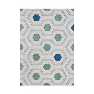 Alliyah Handmade Aqua Green New Zealand Blend Wool Rug (5' x 8')