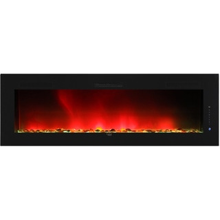 Caesar Luxury Linear Wall Mount Recess Freestanding Multicolor Flame Electric Fireplace, 102-Inch