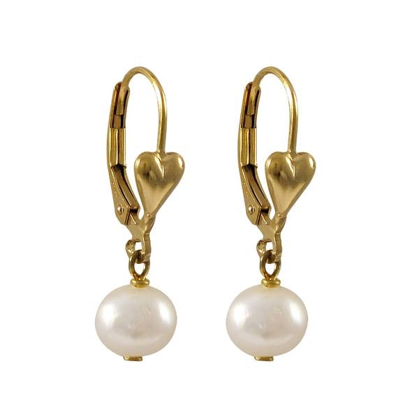 Gold Filled Freshwater Pearl Girls Dangle Earrings