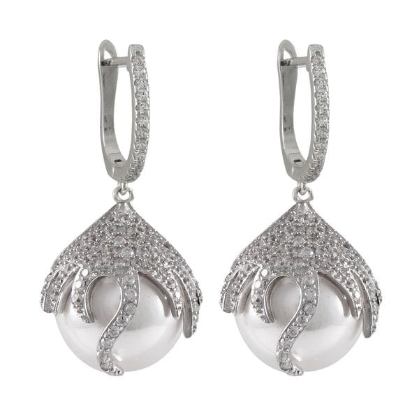 Sterling Silver Cubic Zirconia Freshwater Pearl Dangle Earrings