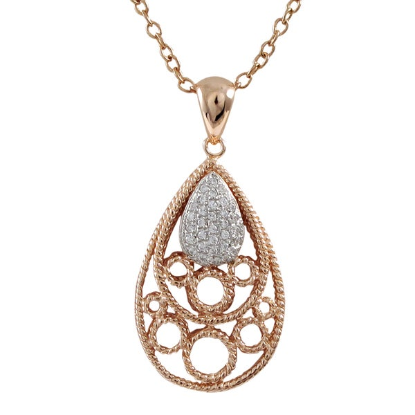 Sterling Silver Rose Gold Finish Pave Cubic Zirconia Teardrop Pendant Necklace
